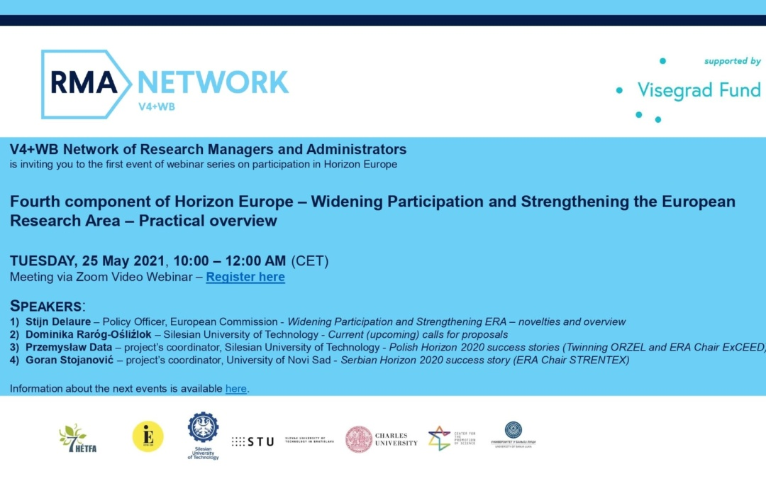 The 4th webinar of the V4+WB Research Managers and Administrators Network is fast approaching, there are only a few places left!